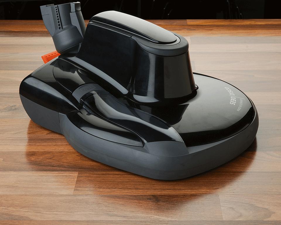 Disco floor polisher at work