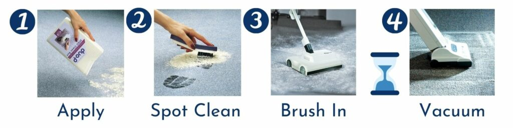 Apply, spot clean, brush in, wait, vacuum