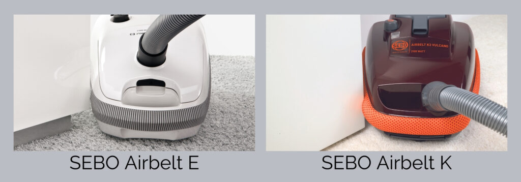 SEBO vacuum comparison of the Airbelt Bumper on Airbelt E and Airbelt K